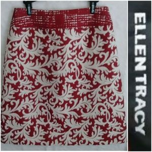 Ellen Tracy Red And White Constrast Skirt